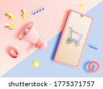 shopping cart and megaphone and ... | Shutterstock .eps vector #1775371757