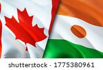 Canada And Niger Flags. 3d...