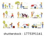 farmers scenes bundle with...   Shutterstock .eps vector #1775391161