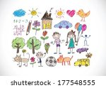 children's drawings idea design | Shutterstock .eps vector #177548555