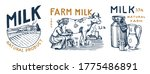milk set. cow and woman farmer  ... | Shutterstock .eps vector #1775486891