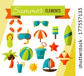 summer elements isolated on... | Shutterstock .eps vector #177557135