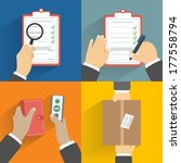 business concept. set of hands...   Shutterstock .eps vector #177558794