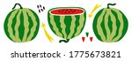 ripe red watermelons. whole and ... | Shutterstock .eps vector #1775673821