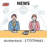 the news studio's male and... | Shutterstock .eps vector #1775704661
