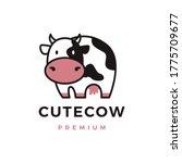 Cute Cow Logo Vector Icon...