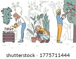 people are gardening and... | Shutterstock .eps vector #1775711444
