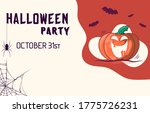 cute smiling pumpkin flyer with ... | Shutterstock .eps vector #1775726231