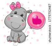 Cute Cartoon Hippo Girl With...