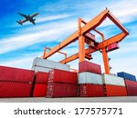 industrial port with containers | Shutterstock . vector #177575771