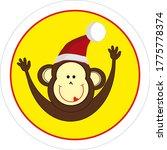Monkey In Santa Claus Hat Icon