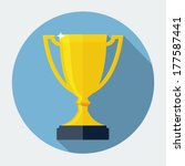trophy cup flat icon with long... | Shutterstock .eps vector #177587441
