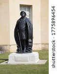 Small photo of Oxford, Oxfordshire, UK 06 24 2020 A statue of the physician John Radcliffe at The Green Templeton College in Oxford in the UK