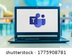 Small photo of POZNAN, POL - APR 24, 2020: Laptop computer displaying logo of Microsoft Teams, a unified communication and collaboration platform