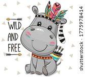 cartoon baby hippo with... | Shutterstock .eps vector #1775978414