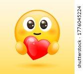 vector yellow emoji with heart | Shutterstock .eps vector #1776045224