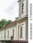 Kurmene, Latvia - June 28, 2020: Kurmene Catholic church was built in 1870 as the private chapel for Count Komorovsky. Restoration  be completed in 2020