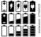 battery icons set | Shutterstock .eps vector #177609125