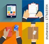 business concept. set of hands... | Shutterstock .eps vector #177615554