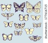 set of butterflies   vector... | Shutterstock .eps vector #177616715