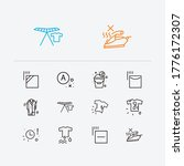 textile icons set. no steam and ...
