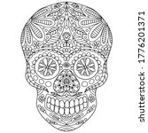 Skull With Floral Folk Style...