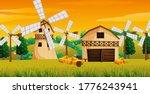 Farm Scene In Nature With Barn...