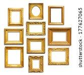 set of antique golden frames on ... | Shutterstock . vector #177627065