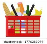 food basket. a basket filled... | Shutterstock .eps vector #1776283094