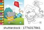 Cartoon Of Funny Rhino Playing...