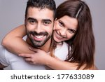 portrait of a funny love couple ...   Shutterstock . vector #177633089