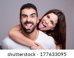 portrait of a funny love couple ...   Shutterstock . vector #177633095