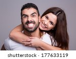 portrait of a funny love couple ... | Shutterstock . vector #177633119