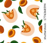 seamless pattern with apricots... | Shutterstock .eps vector #1776368594