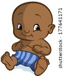 baby boy with striped shorts | Shutterstock .eps vector #177641171