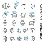 insurance set line icons.... | Shutterstock .eps vector #1776421397