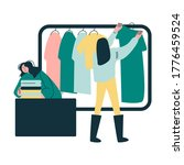 young woman choosing clothes on ... | Shutterstock .eps vector #1776459524