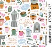 coffee seamless pattern. vector ... | Shutterstock .eps vector #1776484247
