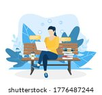 woman with laptop sitting on...   Shutterstock .eps vector #1776487244