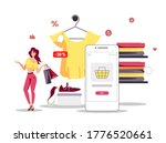 woman with purchases and phone. ... | Shutterstock .eps vector #1776520661