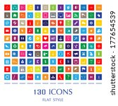 130 web icons. flat style | Shutterstock .eps vector #177654539