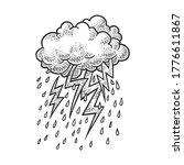 lightning from clouds sketch engraving vector illustration. T-shirt apparel print design. Scratch board imitation. Black and white hand drawn image.