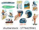 Surf Badge  Vintage Surfer...