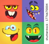 cartoon monster faces set.... | Shutterstock . vector #1776670004