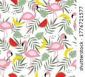 Seamless Pattern Of Flamingo...