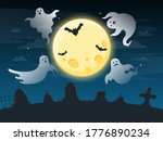 halloween creepy poster. flying ... | Shutterstock .eps vector #1776890234