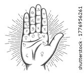 palmistry map on open palm with ... | Shutterstock .eps vector #1776956261