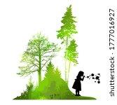 a girl blowing soap bubbles in... | Shutterstock .eps vector #1777016927