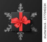 black gift box. on a silver... | Shutterstock .eps vector #1777040234