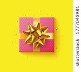 pink gift box with golden... | Shutterstock .eps vector #1777043981